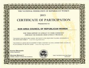 2015 Literacy Certificate