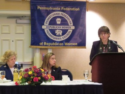 National security expert Cynthia Ayers speaks during Saturday's lunch.